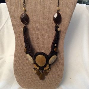 Brown Woven Necklace with Tan & Brown Stones